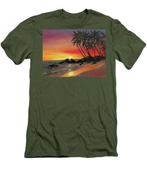Men's T-Shirt (Slim Fit) featuring the painting Tropical Sunset by Roseann Gilmore