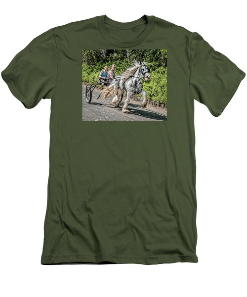 Men's T-Shirt (Slim Fit) featuring the photograph Trotting At Appleby Horse Fair by Brian Tarr