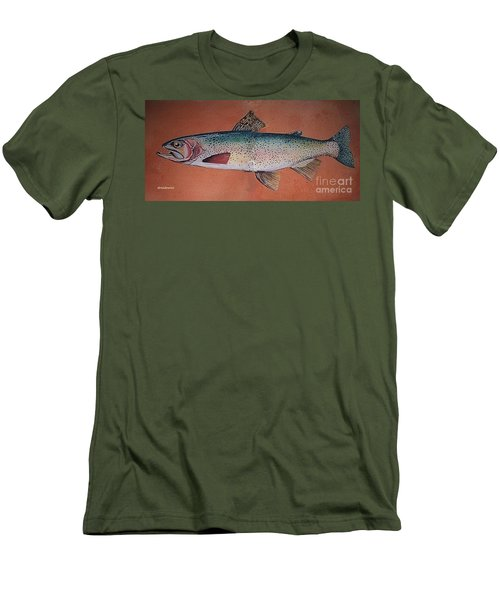 Men's T-Shirt (Slim Fit) featuring the painting Trout by Andrew Drozdowicz