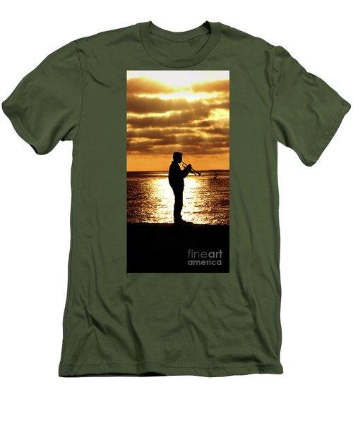 Trumpet Player Men's T-Shirt (Slim Fit) by Linda Olsen