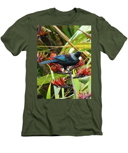Tui In Flax Men's T-Shirt (Slim Fit) by Angela DeFrias