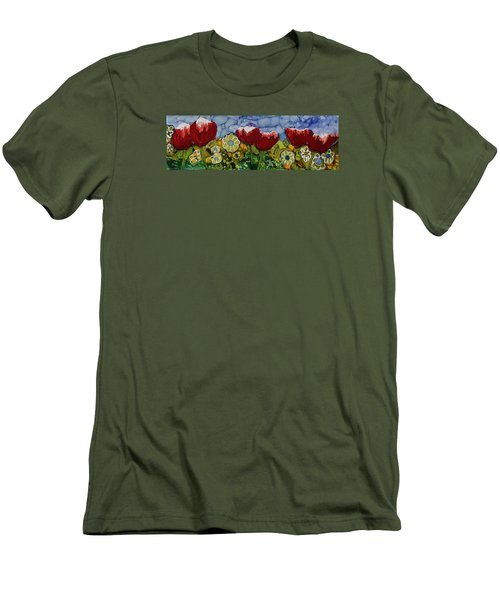 Men's T-Shirt (Slim Fit) featuring the painting Tulip Bonanza by Suzanne Canner
