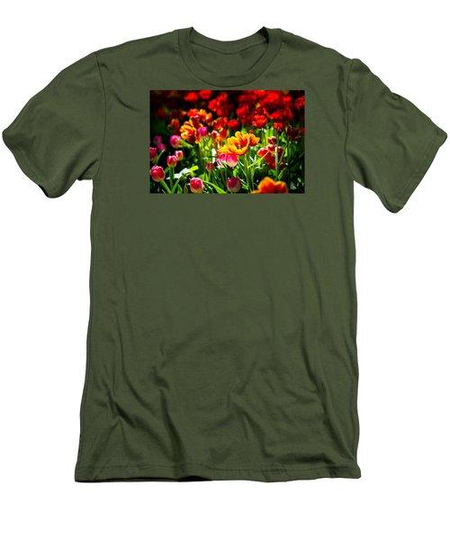 Men's T-Shirt (Slim Fit) featuring the photograph Tulip Flower Beauty by Alexander Senin