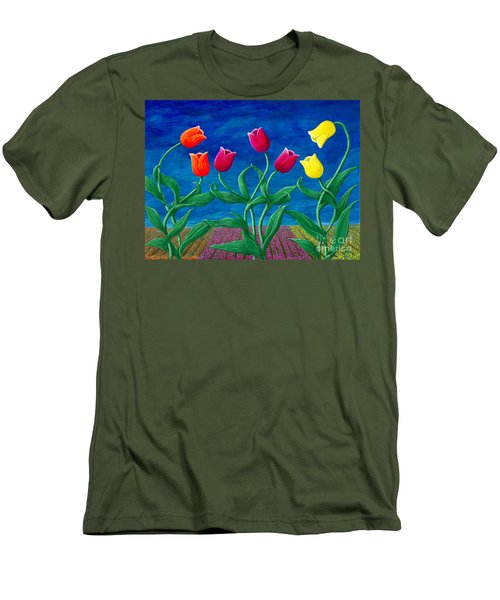 Men's T-Shirt (Slim Fit) featuring the painting Tulip Tango by Rebecca Parker