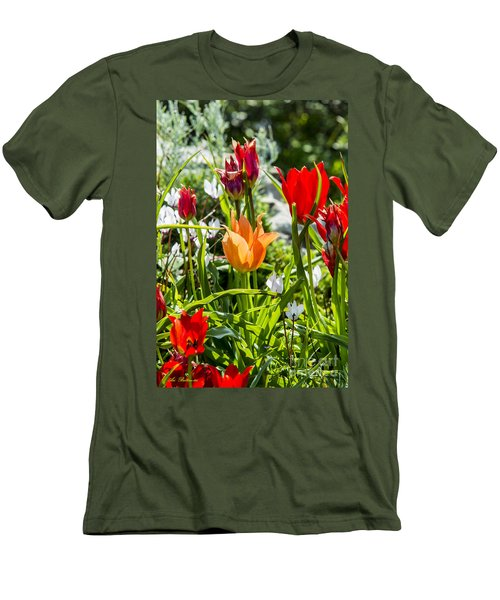 Men's T-Shirt (Slim Fit) featuring the photograph Tulip - The Orange One by Arik Baltinester