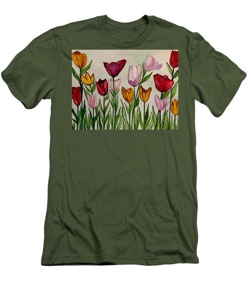 Tulips Men's T-Shirt (Slim Fit) by Lisa Aerts