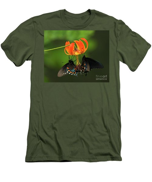 Turks Cap Lilly And Butterflies, Blue Ridge Parkway Men's T-Shirt (Athletic Fit)
