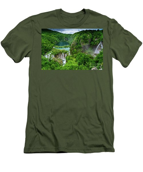 Turquoise Lakes And Waterfalls - A Dramatic View, Plitivice Lakes National Park Croatia Men's T-Shirt (Athletic Fit)