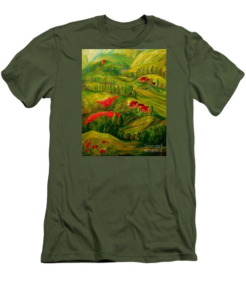 Men's T-Shirt (Slim Fit) featuring the painting Tuscany At Dawn by Eloise Schneider