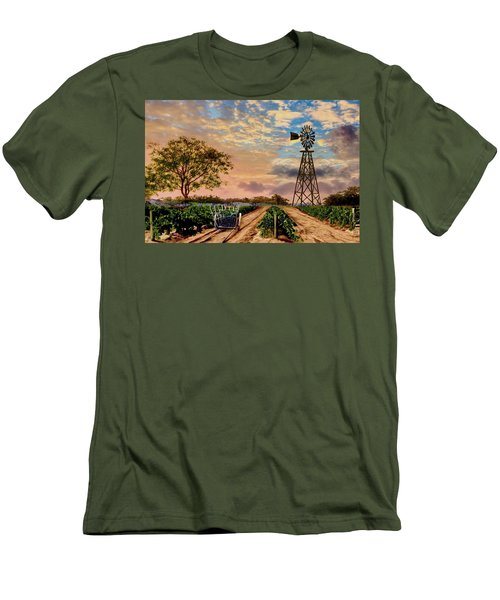 Twilight At The Vineyard Men's T-Shirt (Slim Fit) by Ron Chambers