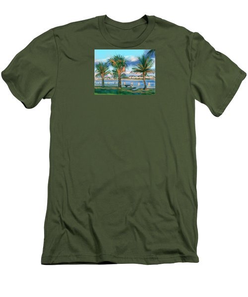 Men's T-Shirt (Slim Fit) featuring the digital art Twilight On Saw Fish Bay by Jean Pacheco Ravinski