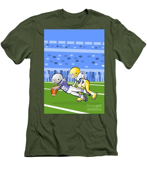 Two American Football Players Battling For The Ball Men's T-Shirt (Athletic Fit)