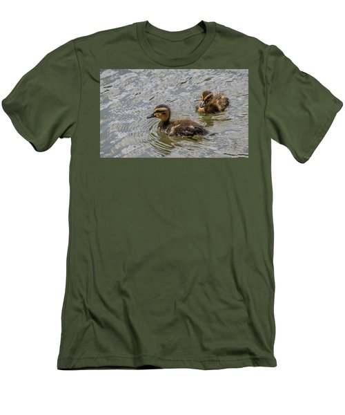 Men's T-Shirt (Slim Fit) featuring the photograph Two Baby Ducks by Ray Congrove