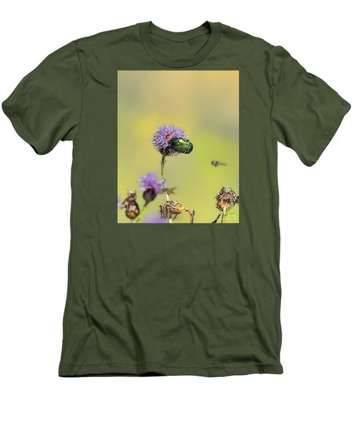 Men's T-Shirt (Slim Fit) featuring the photograph Two Beetles On A Thistle Flower by Leif Sohlman