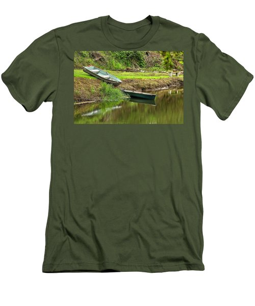 Two Boats And A Bench 1024 Men's T-Shirt (Slim Fit) by Jerry Sodorff
