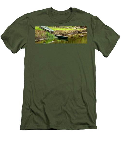 Two Boats Reflection 1024 Men's T-Shirt (Slim Fit) by Jerry Sodorff