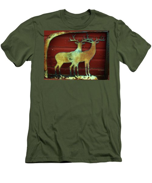 Two Bucks 1 Men's T-Shirt (Slim Fit) by Larry Campbell