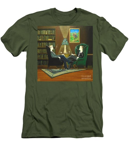 Two Gentlemen Sitting In Wingback Chairs At Private Club Men's T-Shirt (Athletic Fit)