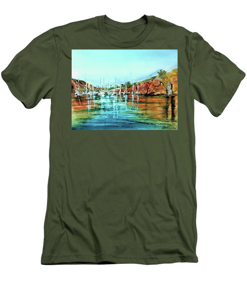 Two Harbors Catalina Morning Impressions Men's T-Shirt (Slim Fit) by Debbie Lewis