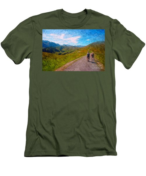 Two Hikers In Adelboden Men's T-Shirt (Slim Fit) by Gerhardt Isringhaus