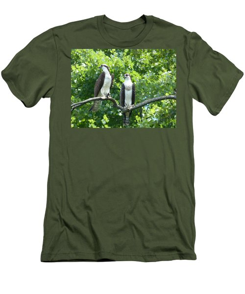Men's T-Shirt (Slim Fit) featuring the photograph Two On A Limb - Osprey by Donald C Morgan
