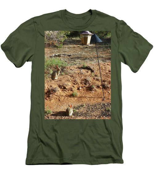 Men's T-Shirt (Slim Fit) featuring the photograph Two Rabbits And Bird Feeder by Joseph Frank Baraba