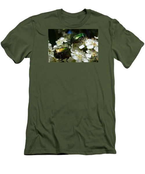 Men's T-Shirt (Slim Fit) featuring the photograph Two Scarabs Metallic Green by Jean Bernard Roussilhe