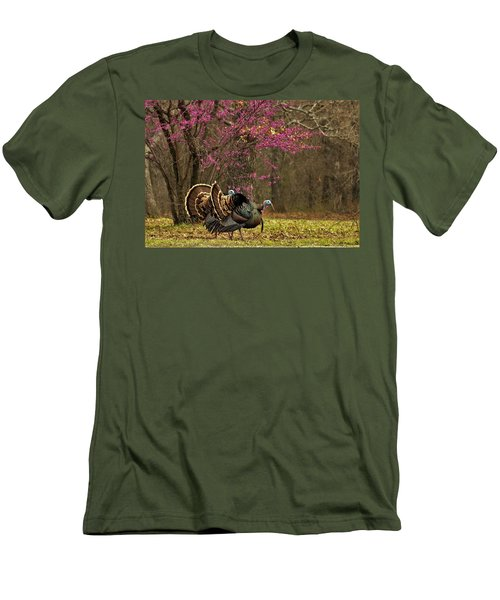 Two Tom Turkey And Redbud Tree Men's T-Shirt (Slim Fit) by Sheila Brown