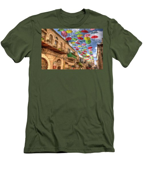 Umbrellas Over Jerusalem Men's T-Shirt (Athletic Fit)