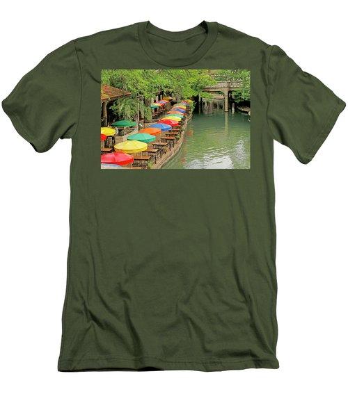Men's T-Shirt (Slim Fit) featuring the photograph Umbrellas Along River Walk - San Antonio by Art Block Collections