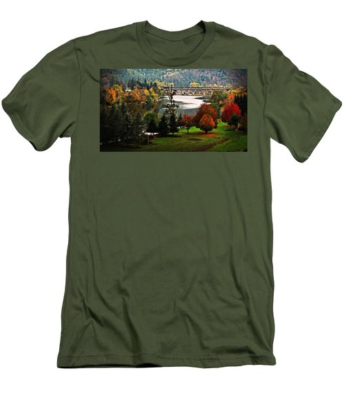 Umpqua Bridge In The Fall Men's T-Shirt (Slim Fit) by Katie Wing Vigil