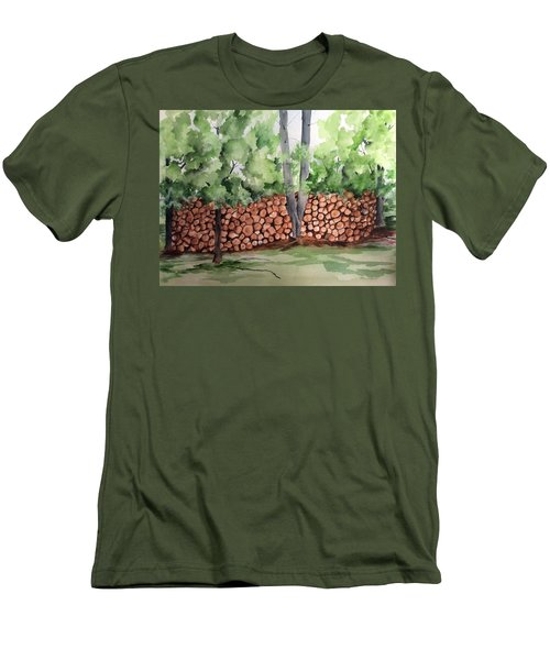 Under Hill Rd. Woodpile Men's T-Shirt (Athletic Fit)