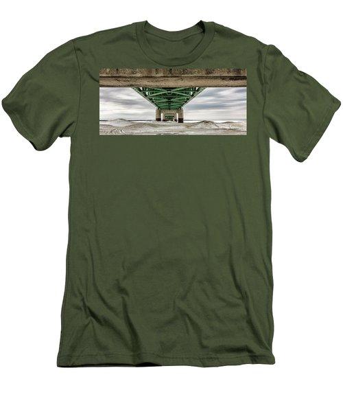 Men's T-Shirt (Slim Fit) featuring the photograph Under Mackinac Bridge Winter by John McGraw