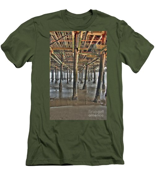 Men's T-Shirt (Slim Fit) featuring the photograph Under The Boardwalk Pier Sunbeams  by David Zanzinger