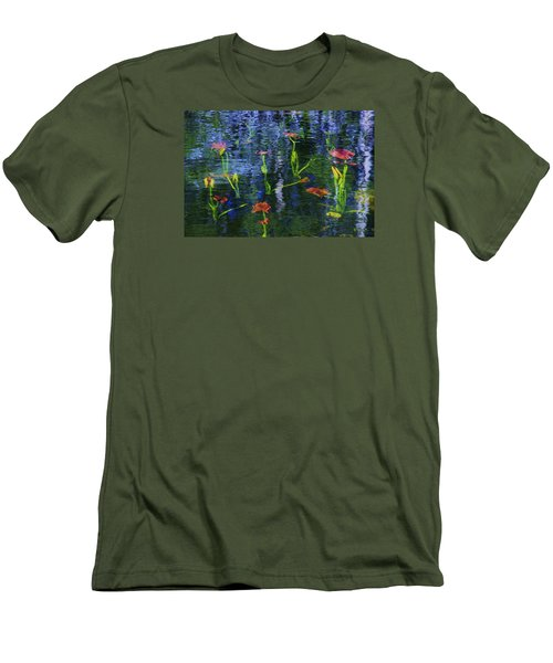 Men's T-Shirt (Slim Fit) featuring the photograph Underwater Lilies by Sean Sarsfield