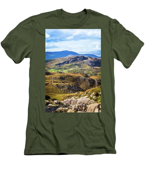 Men's T-Shirt (Slim Fit) featuring the photograph Undulating Green, Purple And Yellow Rocky Landscape In  Ireland by Semmick Photo