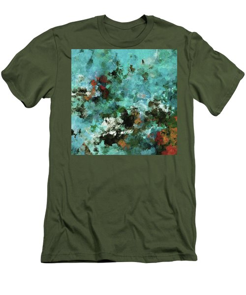 Men's T-Shirt (Slim Fit) featuring the painting Unique Abstract Art / Landscape Painting by Ayse Deniz