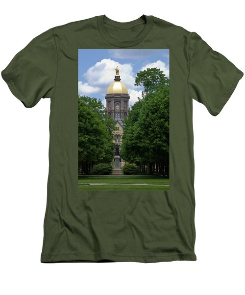 University Of Notre Dame Golden Dome Men's T-Shirt (Slim Fit) by Sally Weigand