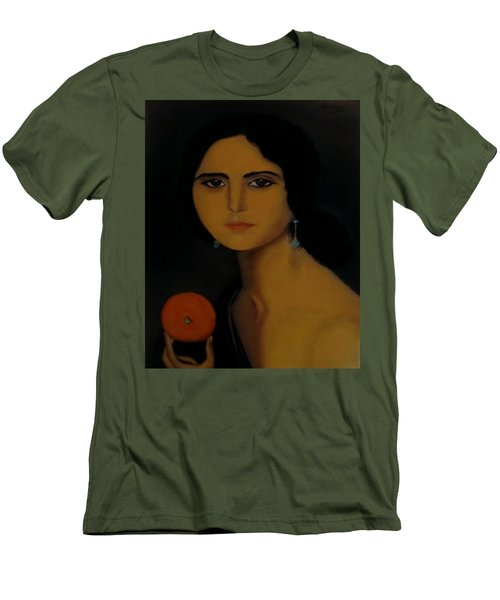 Untitled Woman With Orange Men's T-Shirt (Slim Fit) by Manuel Sanchez