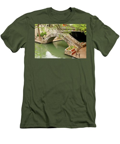 Men's T-Shirt (Slim Fit) featuring the photograph Up And Over - San Antonio River Walk by Art Block Collections