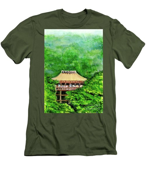 Men's T-Shirt (Slim Fit) featuring the painting Up High Temple by Yoshiko Mishina