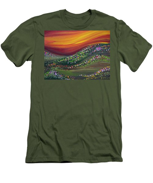Men's T-Shirt (Slim Fit) featuring the painting Ups And Downs by Ashley Price