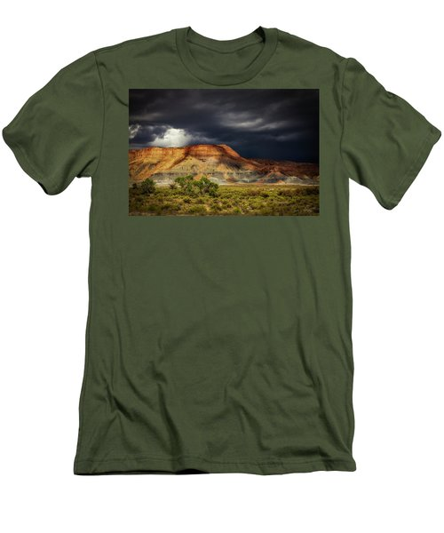 Utah Mountain With Storm Clouds Men's T-Shirt (Slim Fit) by John A Rodriguez