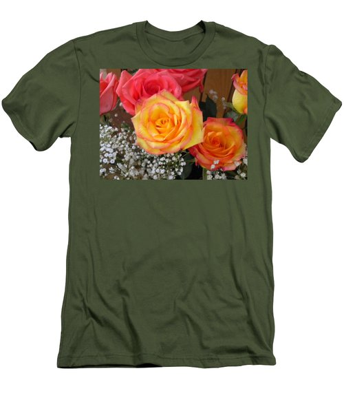Men's T-Shirt (Slim Fit) featuring the painting Valentine's Day Roses 2 by Renate Nadi Wesley