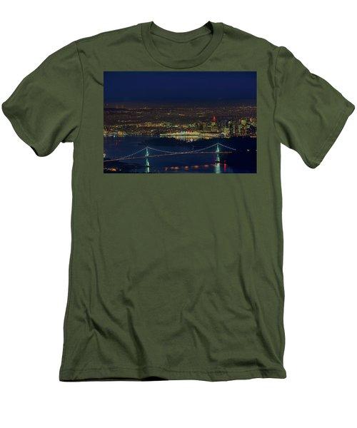 Vancouver Bc Cityscape By Lions Gate Bridge Men's T-Shirt (Athletic Fit)
