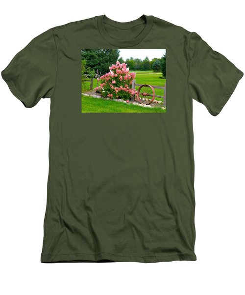 Vanilla Strawberry Hydrangea Men's T-Shirt (Slim Fit) by Randy Rosenberger