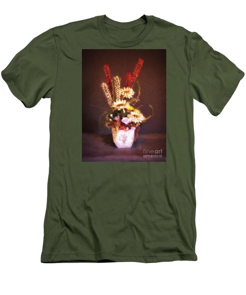 Men's T-Shirt (Slim Fit) featuring the photograph Vase With Flowers  ... by Chuck Caramella