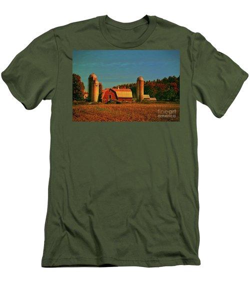 Men's T-Shirt (Slim Fit) featuring the photograph Vermont Autumn Barn by Deborah Benoit