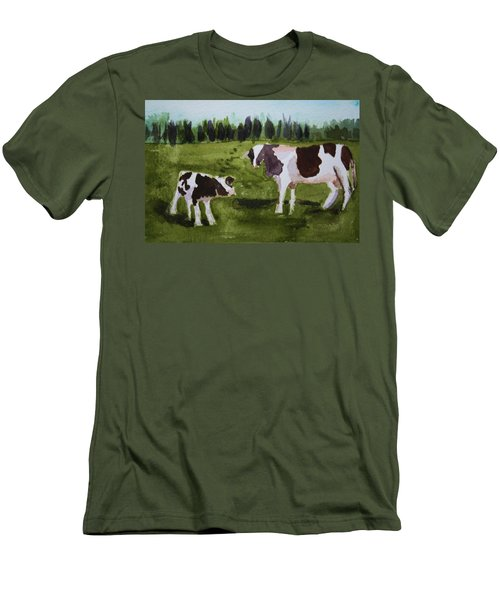 Men's T-Shirt (Slim Fit) featuring the painting Vermont Cow And Calf by Donna Walsh