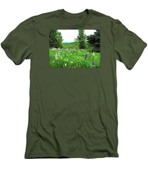 Men's T-Shirt (Slim Fit) featuring the painting Vermont Lupine by Mim White